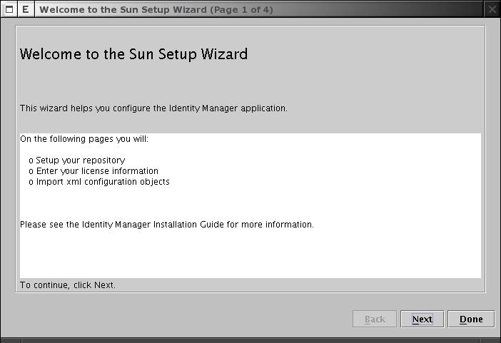 Sun Setup Wizard