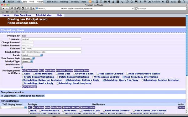 Administrační rozhraní programu DAViCal