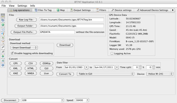 Program BT747 a GPS Logger Holux M-241 připojený přes USB