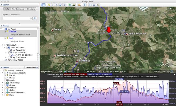Ukázka dat z Holux M-241 v programu Google Earth